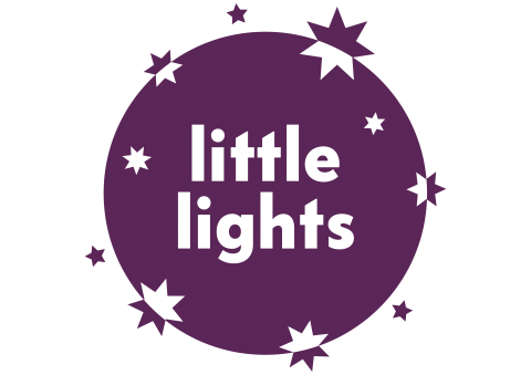 Purple Little Lights logo with twinkling stars