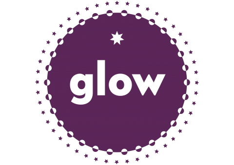 Glow logo with purple circles and stars around the outside of a circle
